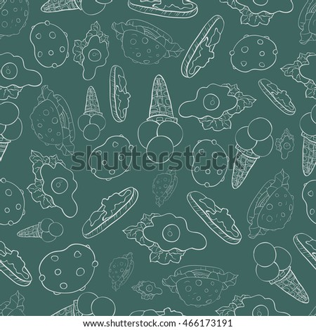 A pattern with ice-creams,hamburgers,butter-broads and eggs on the blue grey  background.
