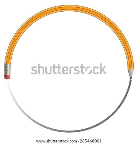 A Pencil Erases its Own Line  - stock vector
