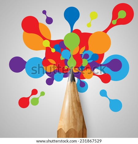 A pencil with colorful shapes, vector - stock vector