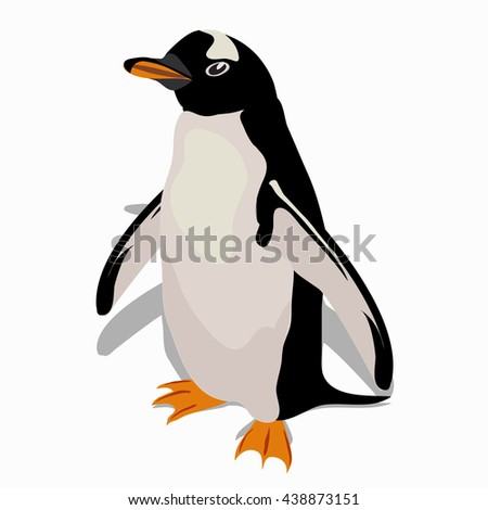 A penguin isolated on a white background. Vector illustration. - stock vector