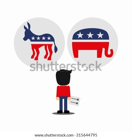 A person confused holding a ballot choosing between democratic and republican - stock vector