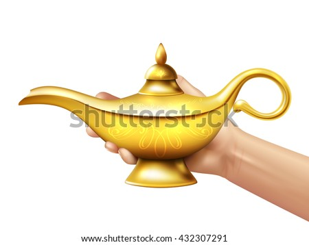 A person holds in his hand realistic golden lamp of Aladdin on white background vector illustration - stock vector