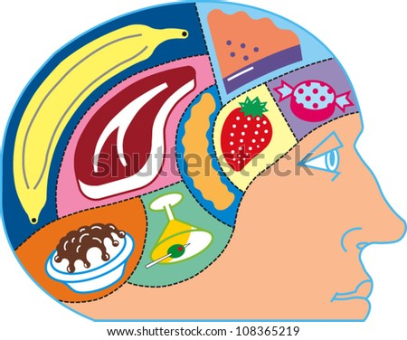 A person's head with various types of food compartments in the brain - stock vector