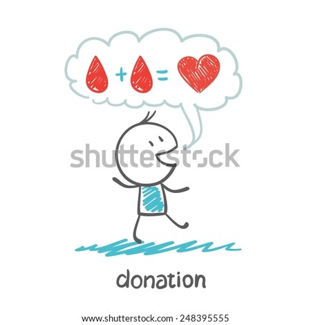 a person thinks about blood donation illustration - stock vector