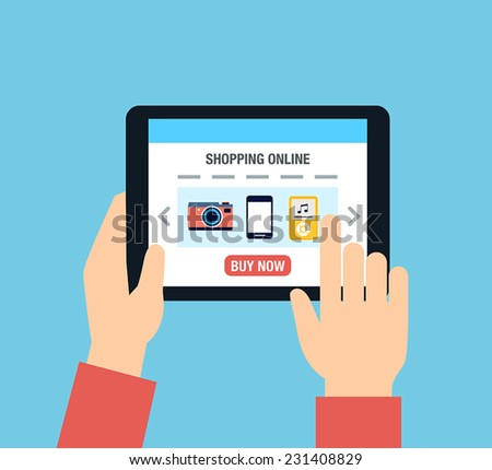 A person using a tablet for online shopping. - stock vector