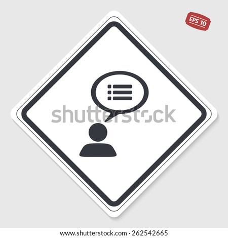 A person with a cloud. Dialog icon. Human thought bubble above his head. Flat design style. Made in vector illustration. Emblem or label with shadow. - stock vector