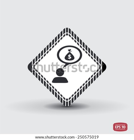 A person with a cloud. Money bag. Human thought bubble above his head. Flat design style. Made in vector illustration - stock vector