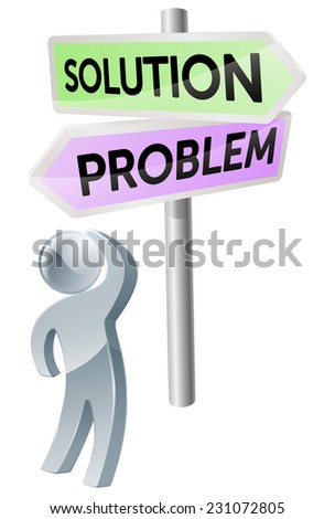 A person with a decision to make looking up at a sign with directions to accept or refuse - stock vector