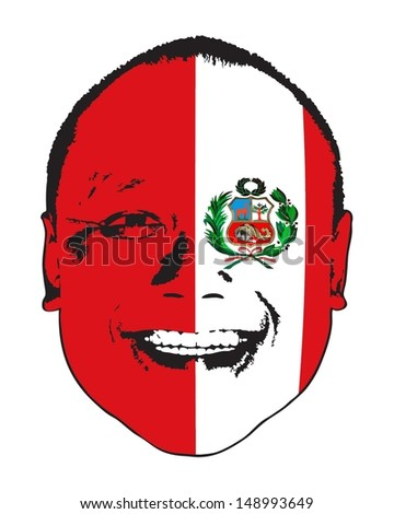 A Peru flag on a face, isolated against white.  - stock vector