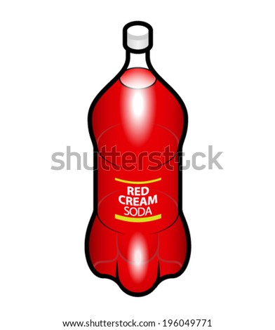 A PET bottle of red cream soda.