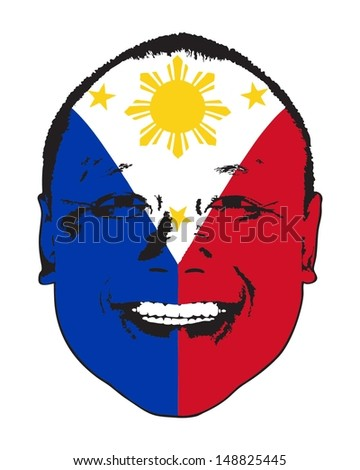 A Philippine flag on a face, isolated against white.  - stock vector