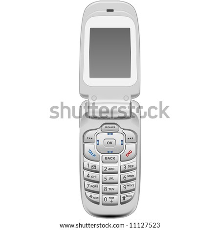 A photo-realistic vector illustration of a cellular phone, generic in style. - stock vector