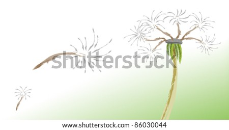 a picture of dandelion and fluffy - stock vector