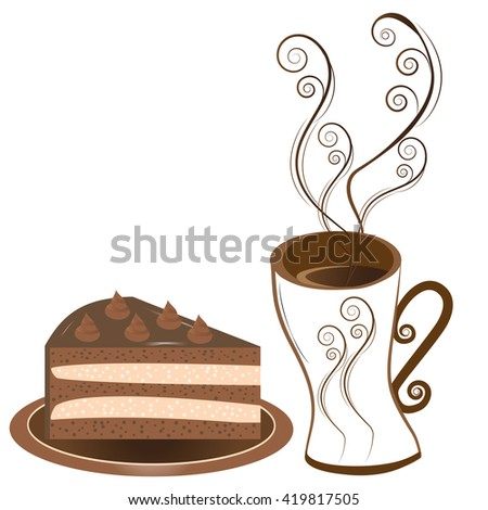 A piece of delicious chocolate cake with cream on a plate and a cup of coffee with decorative elements. Vector illustration. - stock vector