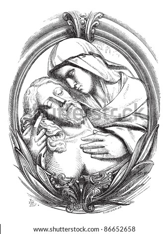 A pieta is the Hospice of Genoa, a medallion attribute Michelangelo. Drawing Chevignard, vintage engraved illustration. Magasin Pittoresque 1874. - stock vector