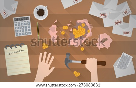 A piggy bank smashed with a hammer - stock vector