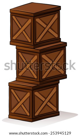 A pile of crates on a white background - stock vector