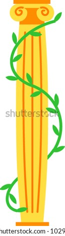 A pillar or column is wrapped with ivy to form a dollar sign - stock vector