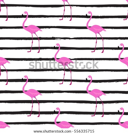 a pink flamingo seamless pattern; exotic tropical bird vector illustration; striped background