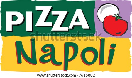 A pizza insignia clipart depicting ingredients and plates with an empty space for further text.