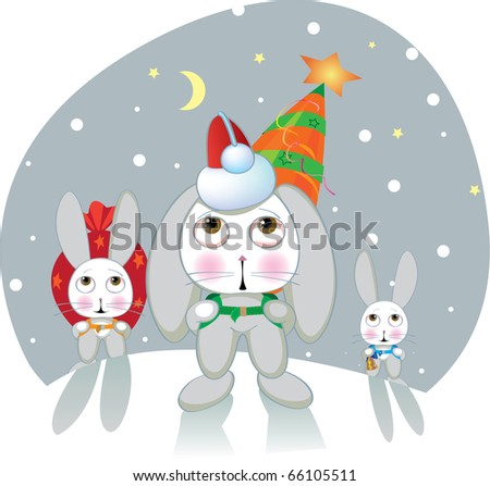A plot for a congratulation on Christmas and New year - year of a hare on east calendar. Vector. - stock vector