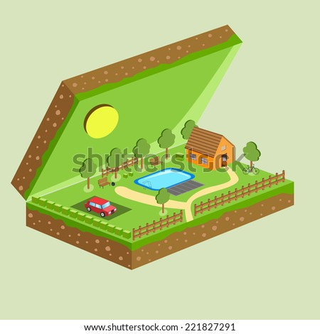 A plot of land with a house, a swimming pool and communications in a box - stock vector