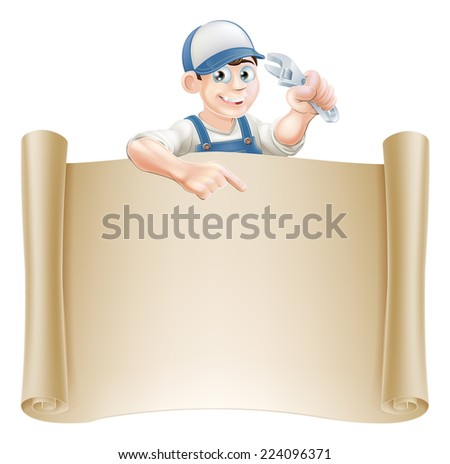 A plumber or mechanic holding an adjustable spanner or wrench and peeking over a scroll banner and pointing - stock vector