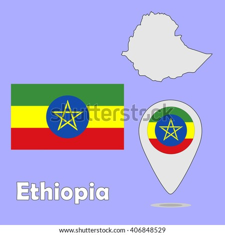 A pointer map and flag of Ethiopia - stock vector
