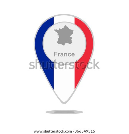 A pointer with map and flag of France - stock vector
