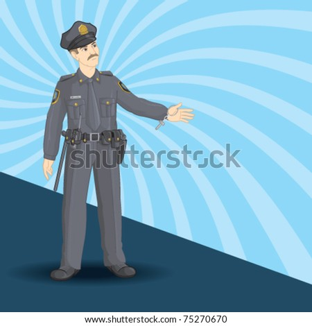 A police man with pull over gesture. - stock vector