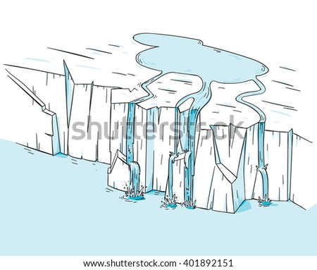 A pool of cool water pours off of the edge of a melting polar icecap glacier, into the ocean. - stock vector