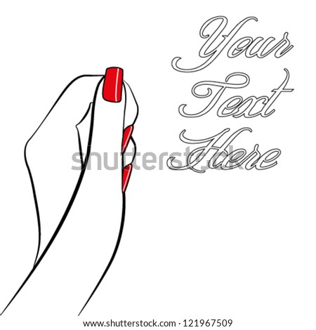 A pop art style womans hand in black and white with red nails and space for text - stock vector