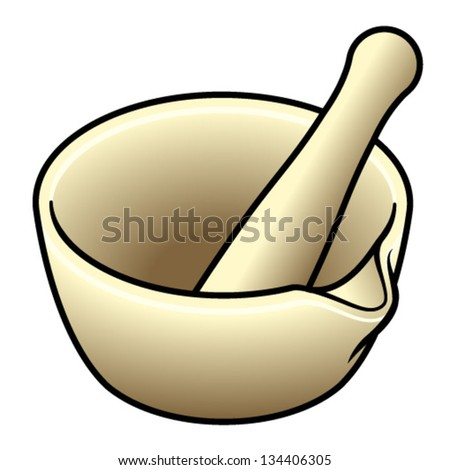 A porcelain laboratory/pharmacy pestle and mortar. - stock vector