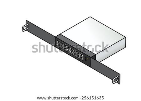 A 16-port Ethernet 1u rack mount network switch. - stock vector