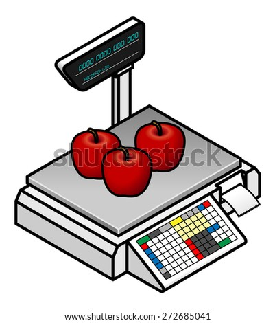 A POS (point of sale) digital scales with three red apples. - stock vector