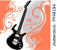 A precisely drawn electric guitar is placed in this vector grunge background - stock vector