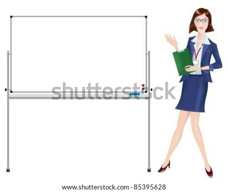 a presenting career woman beside a whiteboard