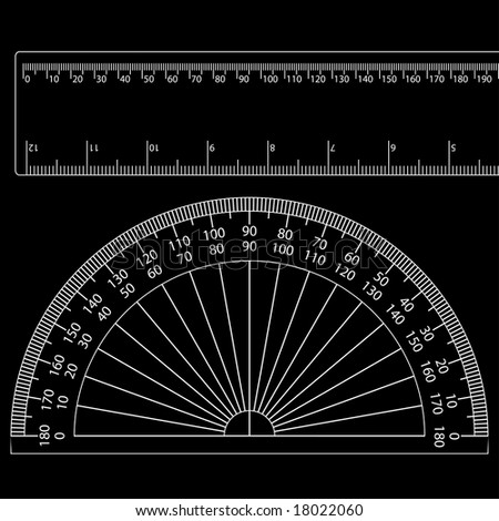 a protractor and a ruler - stock vector