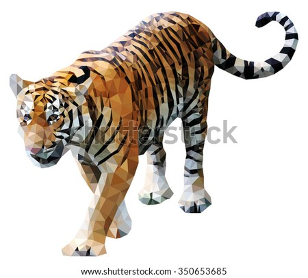 A prowling fierce tiger, low poly vector illustration.  - stock vector