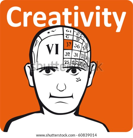 A psychology model - the creativity section of the brain - stock vector