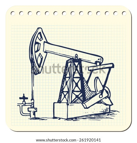 A pumpjack is the overground drive for a reciprocating piston pump in an oil well. EPS10 vector illustration in a sketchy style imitating scribbling in the notebook or diary. - stock vector