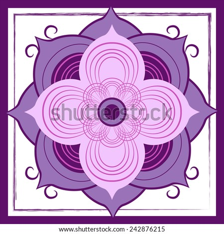 A purple abstract lotus blossom is centered in this tile design. The bloom intersects with the textured border and creates a bold visual statement.  - stock vector