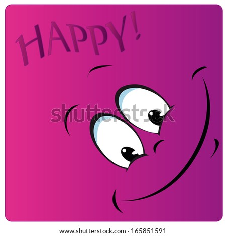a purple big face with a smile and some text - stock vector