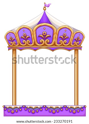 A purple merry-go round ride at the carnival on a white background  - stock vector
