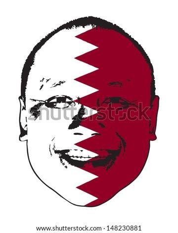 A Qatar flag on a face, isolated against white.  - stock vector