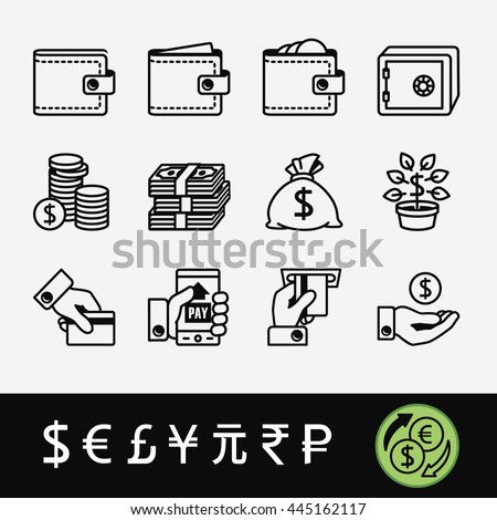 Quality Set Icons Related Money Exchange Stock Vector 445162117