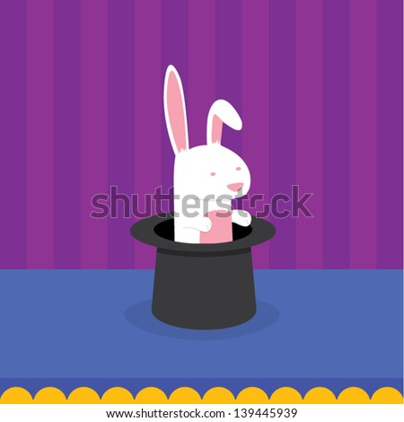 A rabbit sits inside a magician's hat on stage. This is an Ai 10 file that does not contain any transparencies or blends. All layers have been grouped and named for easy editing. - stock vector