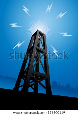 A radio tower broadcasting signals across the city. - stock vector