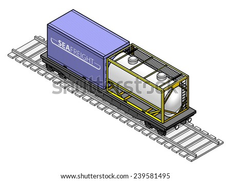A rail freight car with a tanker and a shipping container. - stock vector