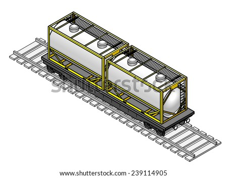 A rail freight car with two tanker containers. - stock vector